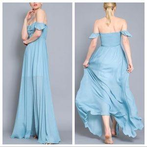 Blue Smocked Off Shoulder Maxi Dress